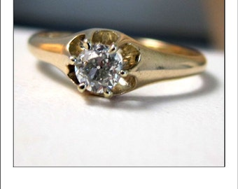 Antique 14k  .30 Ct. VS Transitional Cut Diamond Engagement Ring