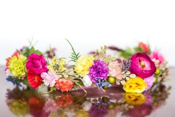 Summer Flower Crown Bridal Flower Halo Summer Wedding Photo Prop