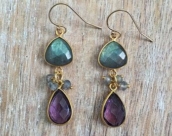 Labradorite & Purple Amethyst Earrings // Dangle, Gold Bezel Gemstone, Teardrop, Trillion, Blue, Green, Gray, Fall Winter Fashion