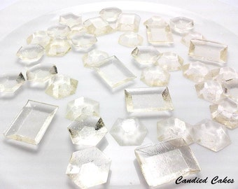 125 CLEAR EDIBLE SUGAR Jewels - Featured in Brides Magazine - Please read the listing