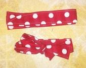 Large White Polka Dot on Red Fabric Headband