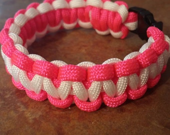 Neon Pink and White Paracord Bracelet casual, bright summer colors, sweet 16 gift, outdoors lover, hiking, trails, camping, sportsman