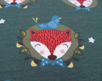 Maille renard fond vert– 50 cm