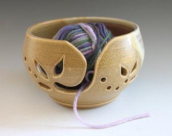Handmade Yarn Holder, Burnt Mustard Brown Ceramic Yarn Bowl, Yarn Bowl, Handmade Yarn Keeper
