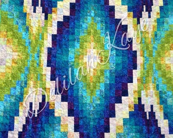 Bargello Quilt Green Purple Blue Ready to Ship Throw