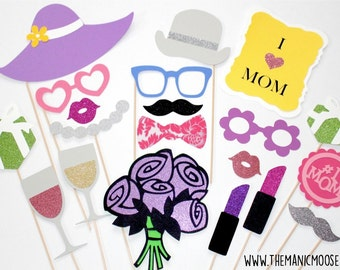 Mother's Day Photo Booth Prop Set - 20 piece set - GLITTER Photobooth Props