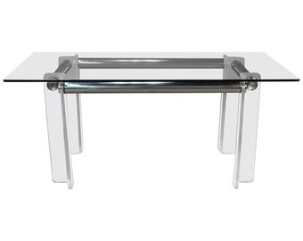 Chrome and Lucite Dining Table or Desk