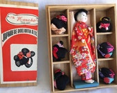1950's Japanese Hanako geisha doll with 7 wigs vintage doll in box with kimono and obi