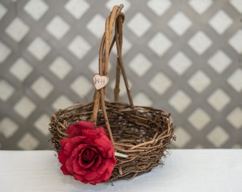 Red Rose Twig round personalized wedding large rustic flower girl basket. Customize with flower and initials
