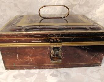 Vintage Metal Banker Box - Antique Metal Box