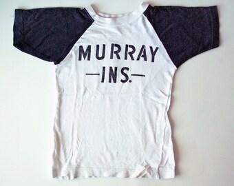Vintage Boy's Medium Sports Jersey, Murray Insurance, Number 1, Little League Baseball Shirt