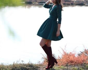 Mini green dress with wrap around top