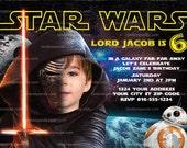 Star Wars Invitation, Kylo Ren Party, Force Awakens Birthday Invite