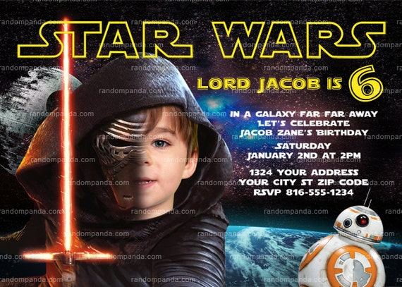 personalize star wars invitation kylo ren party by