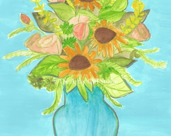 Bouquet of Sunflowers - Watercolor Art Print available in three sizes
