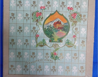 3 Vintage Hankies in Art Nouveau Hankerchief Box