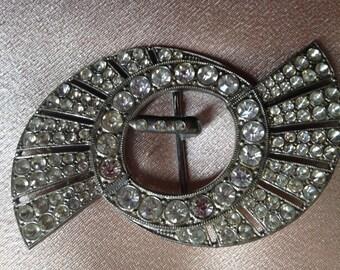 RARE  DECO Silver tone and Diamente Pinwheel BUCKLE