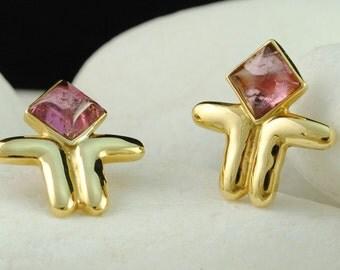 Cycladic Figurine Earrings - Pink Tourmaline, Solid 18K Gold - FREE Shipping