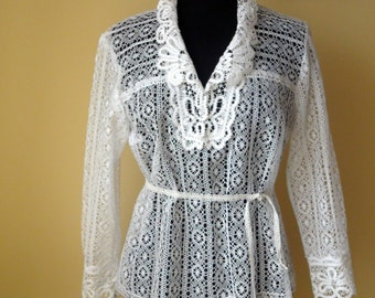 Bobbin Lace Shirt White blouse handmade lace