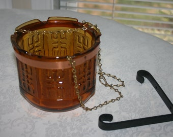 Vintage Princess House 1970s Amber Glass Hanging Planter or Candle Holder Colonial Amber