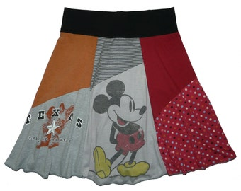 Sale Disney Women's Large XL Mickey Mouse Texas Upcycled Skirt recycled t-shirt clothing from Twinkle