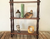 Mid Century Wood Curio Shelf