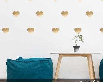 Peel and Stick Metallic Gold Heart Wall Decals | Long Life | Apartment Safe - PAS004