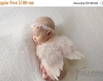 SALE 25% OFF - Vintage Blush Angel Baby Wings and/or Matching Vintage Lace Headband, for a teenie infant, photo shoot, baby photo, by Lil Mi