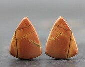 Triangle Shape, Natural Jasper Earring Pair Red & Green Earth Tone Cabs, Cabochons Set of Two Loose Gemstone Jewels, High Quality (CA2944)