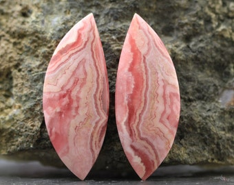 Pink Rhodochroiste Pair Cabochon Natural Gem Cabochon Stone Wire Wrapping Healing Stone, Emotional Aid Joy and Love - (CA4838)