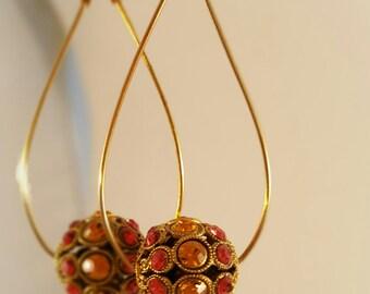 Teardrop Swarovski Hoops- 14k Gold