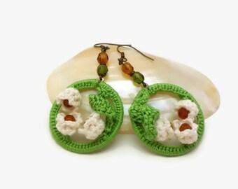 Boho Lily-Of-The-Valley Earrings, Green Crochet Hoop Earrings, Crochet Lily Earrings, Boho Chic Crochet Earrings, OOAK Lily Flower Jewelry