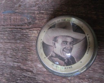 "Unique John Wayne Dome Paperweight. ""King of the Pecos"" John Wayne Memorabilia. Collectible John Wayne Paperweight. Glass Paperweight."
