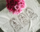 Three Buddhas Cotton Kitchen Towel. Natural Cotton Towel. Flour Sack. Yoga Towel. Earth Friendly Cotton Towel. Buddha Print. Gifts For Her.