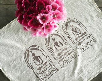 Three Buddhas Towel. Natural Cotton Towel. Classic Flour Sack. Yoga Towel. Print Hand Towel. Buddha Print. Gifts For Her. Buddha Table Linen