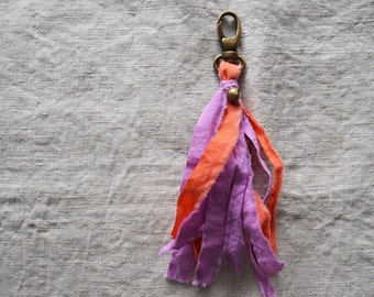 Tassel Key Chain. Pocket Garland. Cotton Tassel. Tassel Key Fob. Bag Tassel. Tassel Clip. Colorful Handbag Decor. Orange and Fuchsia Tassel.