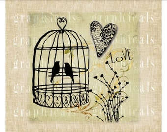 Heart love Birdcage Lovebirds Instant clip art Digital download graphic image for fabric transfer burlap decoupage paper craft pillow  2199