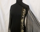 ALFRED SHAHEEN exotic cheongsam black maxi dress - Asian tribal trim - sheer sleeves sz S