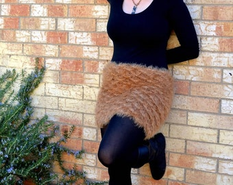 Beige Crocodile Stitch Skirt