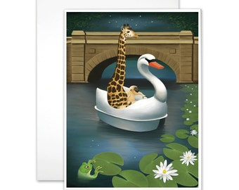 """Blank Inside Notecard, Illustrated Notecard, """"After Hours At The Zoo"""", Giraffe Art"""