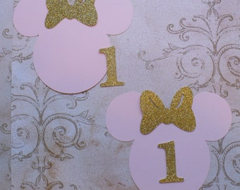 2 DIY Minnie Mouse Pink Happy Birthday 1 Princess Gold Glitter Bows Centerpiece Baby Girl DIY Make Your Own Birthday Party Centerpiece