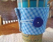 Sweet Blue Coffee Cozy, Checked Country Fabric with Button Closure