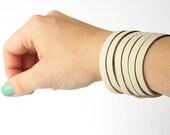 Leather Bracelet / Original Sliced Cuff / Oyster / #006
