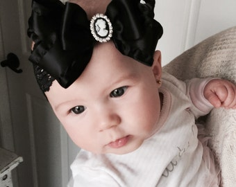Baby Girl  black  double bow headband,Baby Headbands.Girl Headbands.