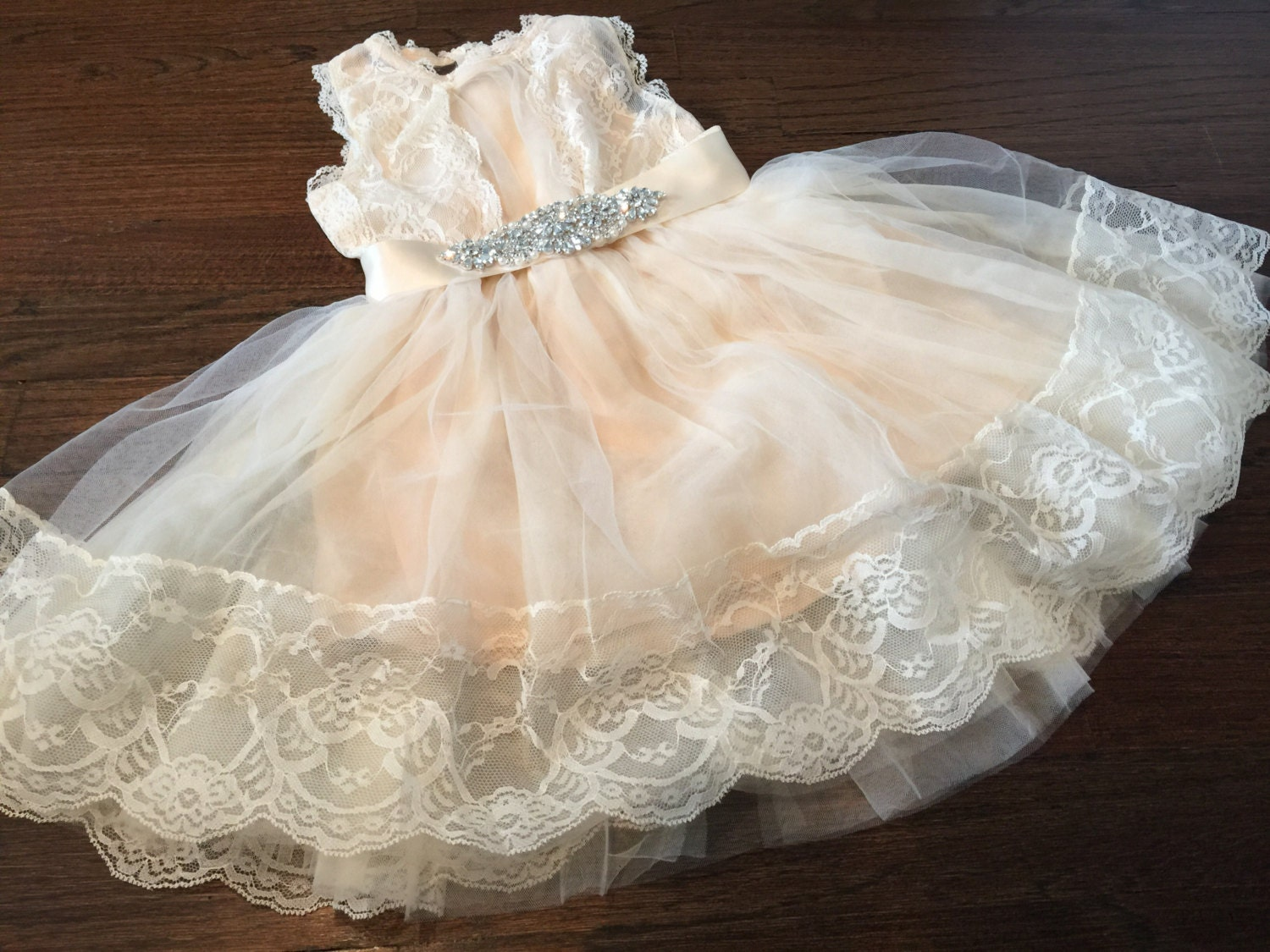 Flower Girl dress girls lace dress ivory by TheBabyBellaBoutique