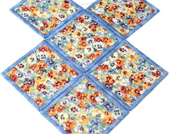 Quilted Coasters, Pansies Coasters, Fabric Coasters, Blue Floral Coasters, Set of 6 Coasters