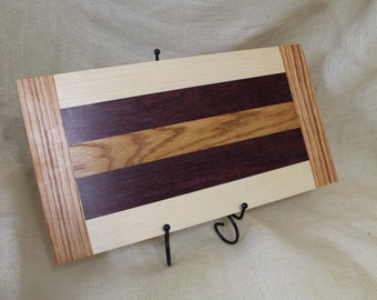 Cheese or Sushi Board Hardwood Oak, Maple and Purple Heart