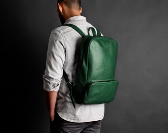 Leather backpack, leather rucksack, laptop backpack // MANGART (Green)