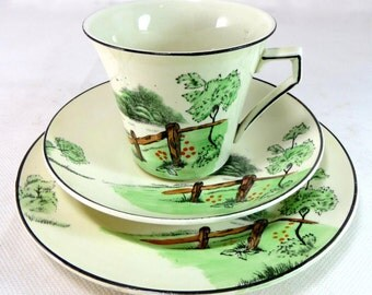 SALE! Art Deco Country Scene Trio, Palissy China Kelly Green Pastoral Field & Fence Hand-painted Cup Saucer Teaplate Set 1930s