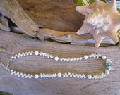 beach wedding necklace, white coral and pearls, freshwater pearl jewelry, Hawaiian handmade necklace, carved white coral